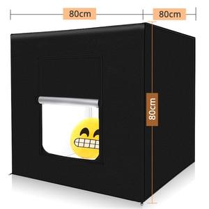 Image 5 - Estúdio fotográfico com iluminação regulável, caixa de luz dobrável para viagem, 80x80cm, 31.5 polegadas, tenda de fotografia kit de