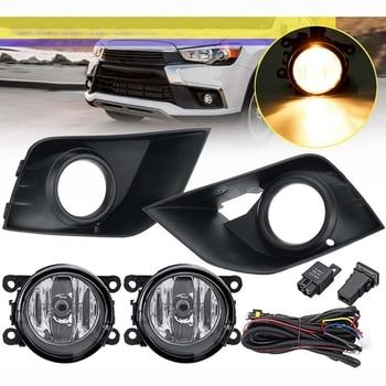 1 Pair LED Car Bumper Fog Light Lamp for Mitsubishi Outlander Sport ASX RVR 2016 2017 2018 with Cover Frame Grill