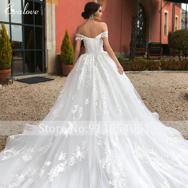 EVALOVE Gorgeous Appliques Royal Train A-Line Wedding Dress Sweetheart Neck Lace Up Beading Sparkly Tulle Princess Bridal Gown 4