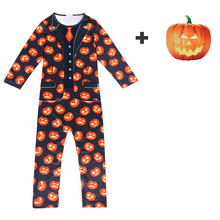 Halloween Kids Costume Boys Clothes Jumpsuit Pumpkin Mask Cosplay Scary Print Clothing Sets For 5-14Y 62952