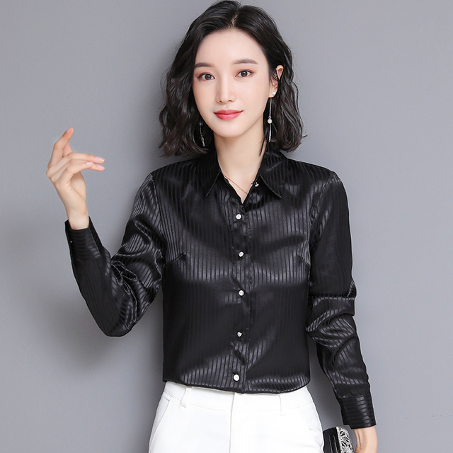 Chikichi 2021 Spring New Ladies Satin Women Shirt Long-sleeved Solid Color Striped Fashion Office Ladies Blouse Plus Size 4XL 2
