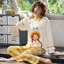 2019 Women Cotton Pajamas Sleepwear Sets Soft Pajamas Women Winter Nightgown Fashion Style Pajamas Sets New Cute Print Homewear