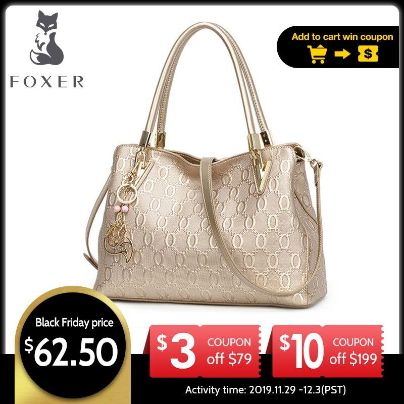 FOXER Women's Split Cow Leather Shoulder Bag Crossbody Bags Female Fashion Totes Handbag All-match Top-handle Bag Purse 962061F