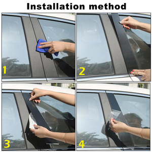 Image 5 - 6pcs BC Pillar Cover Door Window Black Trim Strip for Honda Civic Sedan 2016 2017 2018 New Styling Car Sticker Accessories