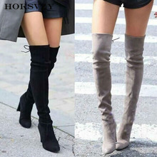 HOKSVZY Winter warm women #8217 s knee high boots over the knee boots skinny boots suede high heel women #8217 s boots cheap Over-the-Knee Solid Adult Thin Heels Riding Equestrian Round Toe Spring Autumn Rubber High (5cm-8cm) 0-3cm Slip-On Fits true to size take your normal size