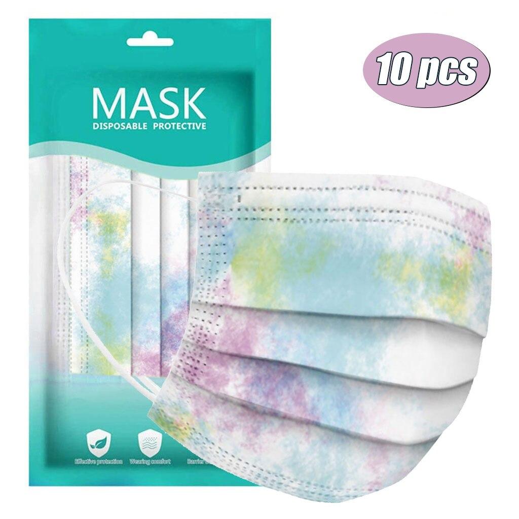 Masque De styliste à teinture par nouage, 10 pièces, Mondmaskers De mode, Masque De Protection jetable, respirant pour le visage