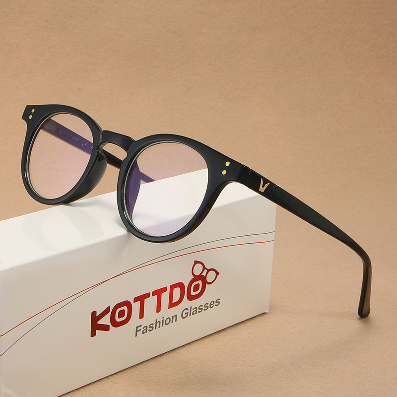 KOTTDO Vintage Fashion Plastic Round Glasses Frame Classic Rivets Men Accessories Eyeglasses Gaming Glasses