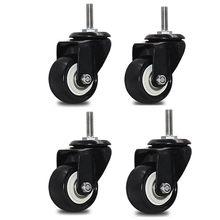 1.5 ''/2'' roulettes pivotantes 4 pièces M10 roulettes pivotantes en caoutchouc avec 360 degrés chaque capacité de roue 50kg/110Lbs