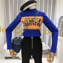 Korean Fashion Womens Long Sleeve Tops High Street Stand Neck T Shirt Women Print Cotton Blend Slim Womens Clothing Blue stand neck linen blend shirt dress