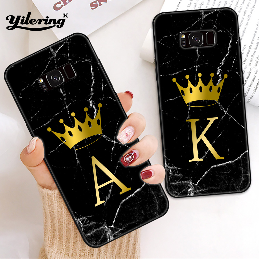 Choose your own initials for <font><b>Case</b></font> <font><b>Samsung</b></font> Galaxy S8 S9 S10 Plus <font><b>S7</b></font> <font><b>S7</b></font> <font><b>edge</b></font> S10e Phone <font><b>case</b></font> for S10 e S8 Black soft <font><b>Silicone</b></font> TPU image