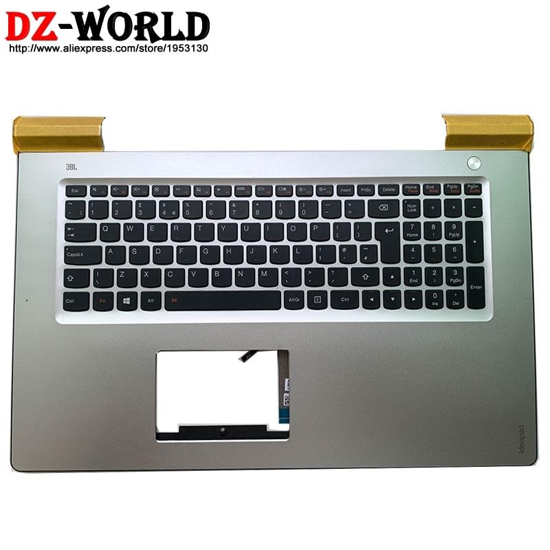 Bilgisayar ve Ofis'ten Yedek Klavyeler'de Yeni/orijinal gümüş Palmrest arkadan aydınlatmalı İngiltere İngilizce klavye için Lenovo Ideapad 700 17ISK Laptop C kapak 5CB0K93620 title=