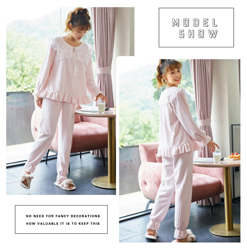 JULY'S SONG Flannel Women Pajama Sets Sleepwear Air Cotton Winter Pajamas Thick Warm Lace Long Sleeves Full Trousers Homewear 36