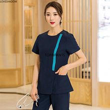 Women Fashion Scrubs Set Contrasting Color Medical Nurse Uniform Side Opening Front Coat with Zipper and Elastic Waistline Pants