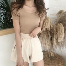 Женская Повседневная футболка с коротким рукавом модная облегающая