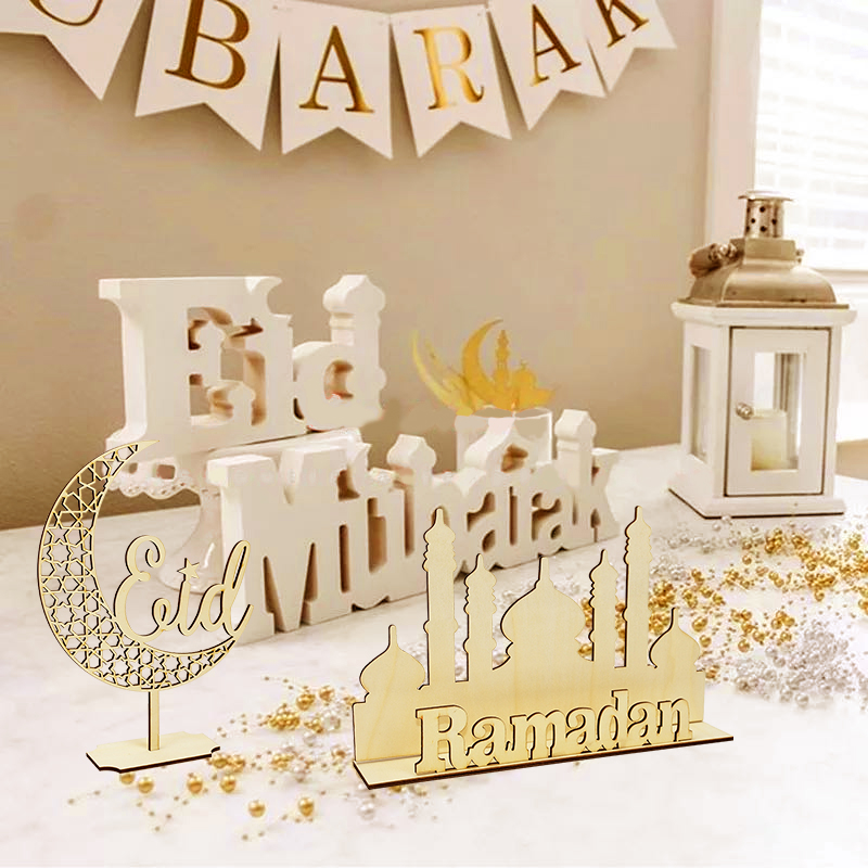 Holz EID Mubarak Dekoration Ramadan Mubarak Ornamente Islamischen Muslimischen Anhänger Eid Al Adha Partei Liefert Ramadan Kareem Geschenke