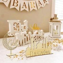 Décoration en bois EID Mubarak pour Ramadan, pendentifs musulmans islamiques, fournitures de fête Eid Al Adha, cadeaux du Ramadan Kareem