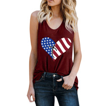 American Flag Heart Print Grey Black Loose Tank Ladies Women Tops Cotton Casual T-Shirt Summer Topic Sleeveless Tee