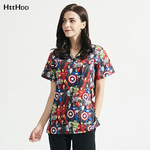 100%Cotton lab coat Short-sleeved Printing scrubs uniforms Unisex pet store working sets scrubs tops/pants suits wholesale S-XXL