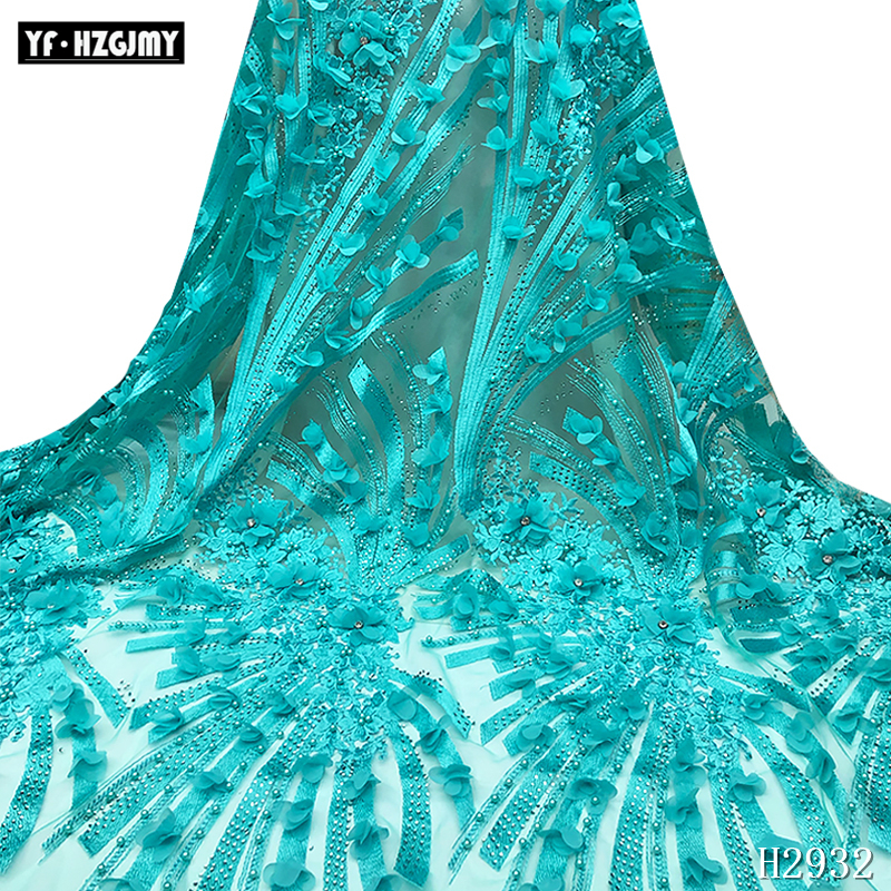 French luxury lace fabric 3d Embroidered Nigerian Lace Fabric With tissu africain guipure For Wedding
