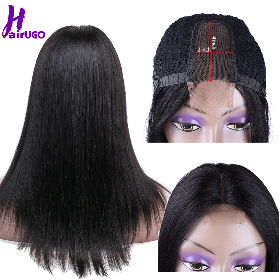 Hairugo Wig Malaysian Straight 2*4 Lace Part Short Wig Middle Part Human Hair Wigs Remy With Baby Hair Pre Plucked Natural Color