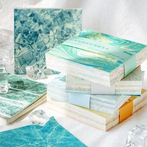 JIANWU 100Sheets Creative Marble Art Salt Series Memo Pad Decoration Material Paper Notebook Collage DIY Journal School Supplies