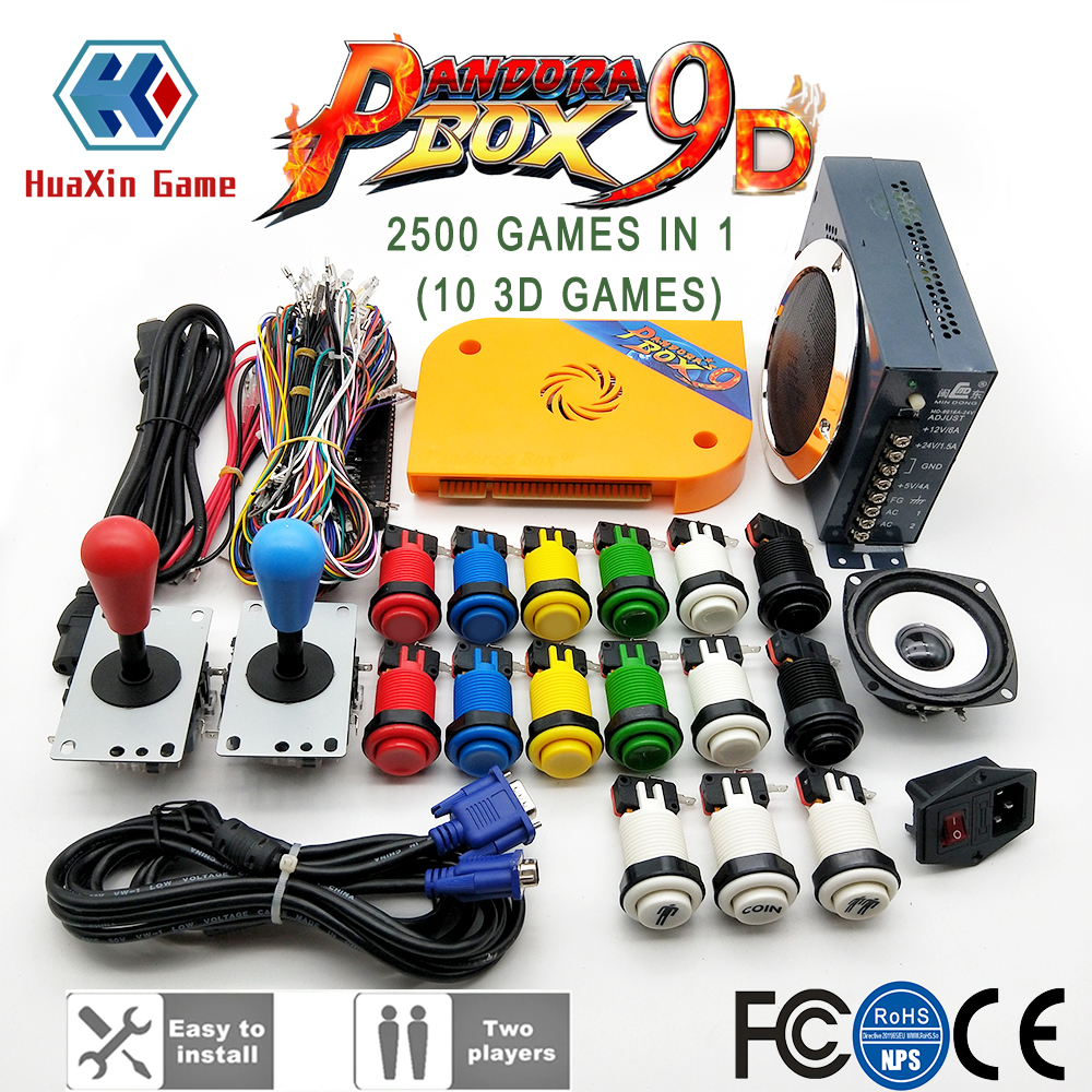 DIY Arcade Machine Cabinet Bundle Original Pandora Box 9D 2500 Game Console Set With HAPP Push Buttons SANWA 8 Way Joysticks