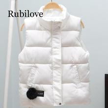 Rubilove new arrival 2019 autumn winter women vest cotton-padded short waistcoat plus size Sleeveless outerwear female casual pa