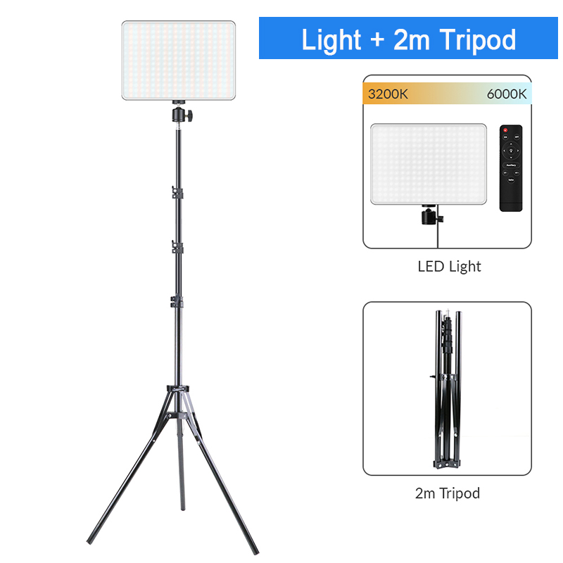Haf377b74ccff499db6f9062cc9f25b39G Dimmable LED Video Light Panel EU Plug 2700k-5700k Photography Lighting For Live Stream Photo Studio Fill Lamp Three Color