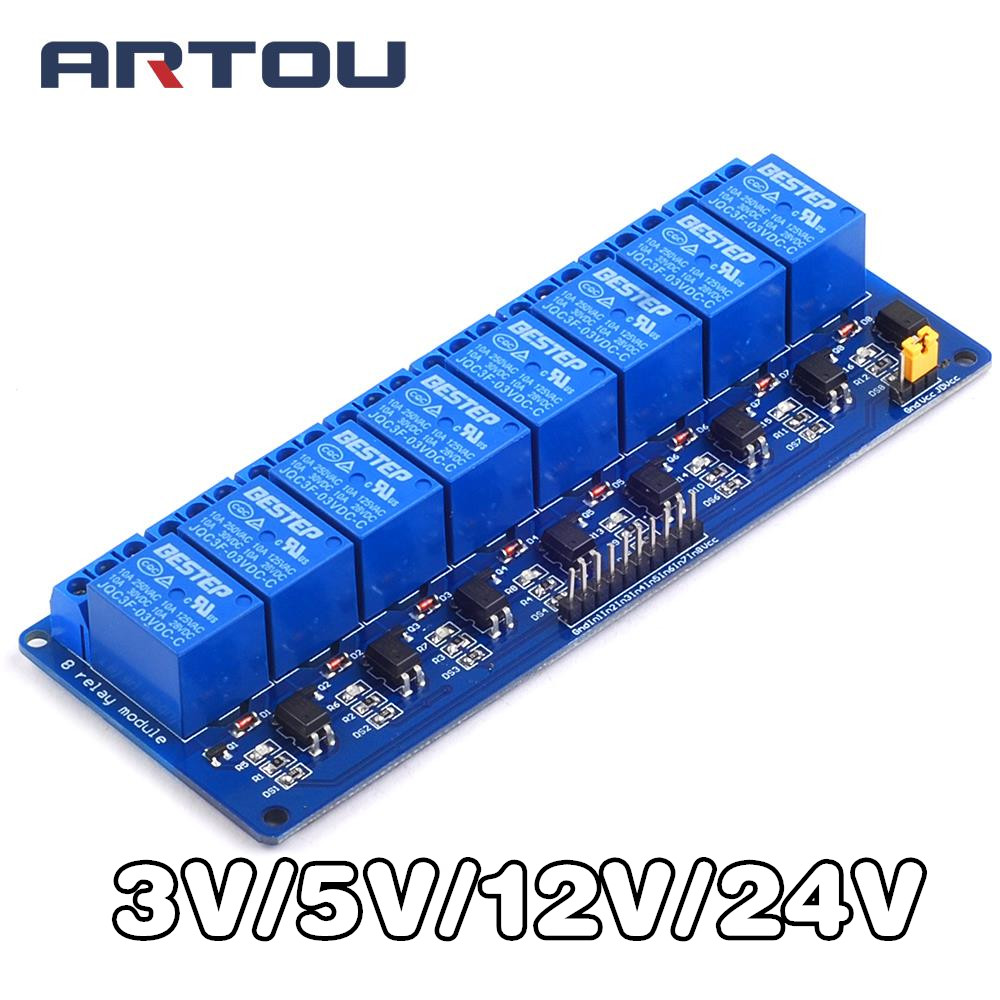 3V 5V <font><b>12V</b></font> <font><b>24V</b></font> 8 Channel Relay Module Low Level Trigger with Optocoupler Relay Output 8 way Relay Module for <font><b>Arduino</b></font> image