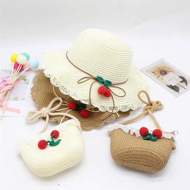 Summer Baby Flower Breathable Hat Straw Hat With Handbag Bags Kids Hat Boy Girls Sun Visor UV Protection Panama Hat Gorras