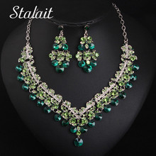 Trendy Earrings&Necklace Sets Flower Green Round Rhinestone Crystal Female Jewelry Silver O Chain Women Bridal Jewelry Sets 2016 american new arrival hotsale regular round flower shape chain with big crystal clear rhinestone jewellery sets