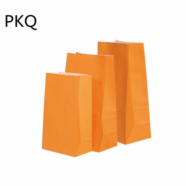 50pcs 13*8*24cm Kraft papier emballage cadeau pochette de qualité alimentaire emballage papier sac pour fête mariage faveur Biscuit sac - 6