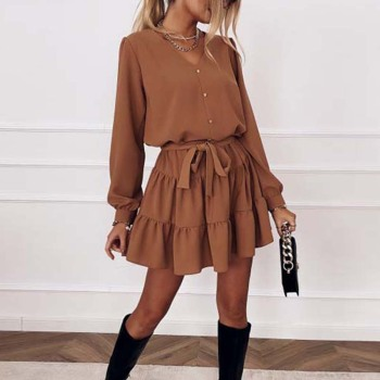 Spring Long Sleeve Ruffles Dress For Women Solid V Neck Casual Loose Mini Dress Button Female Autumn A Line Office Vestidos 2020 new autumn cotton dress women long sleeve o neck black a line dress casual pocket loose mini dress female clothing vestidos