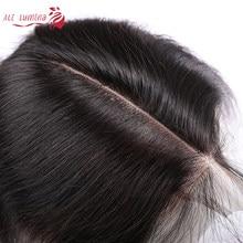 Perruque Lace Closure naturelle péruvienne Remy, cheveux lisses, couleur naturelle, 2x6, avec Baby Hair, pre-plucked, nœuds décolorés