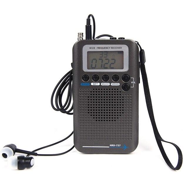 Aircraft FullBand VHF Radio Portable FM AM SW Radio VHF CB 30 223MHZ 25 28MHZ Air 118 138MHZ with Dual Alarm Clock