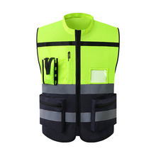 Chaleco reflectante de alta visibilidad para hombre, chaqueta sin mangas de trabajo, uniforme de seguridad, equipo de protección, camiseta sin mangas amarilla fluorescente
