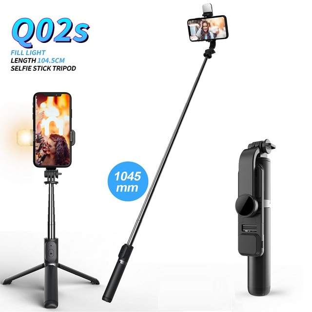 FANGTUOSI Wireless bluetooth selfie stick foldable mini tripod with fill light shutter remote control for IOS Android 1
