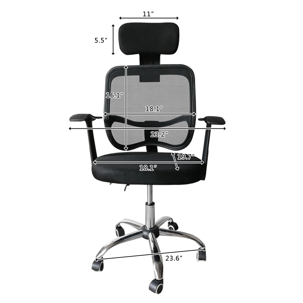 Special Office Swivel Chair Armchair Computer Chair Ergonomic Play Chairs Headrest & Armrests Black Mesh Gas Lift Back Tilt