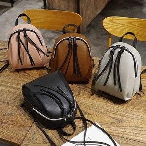 2020 New lady small backpack women leather Shoulder Bag MultiFunction mini backpacks female School bagpack bag for teenage grils(China)