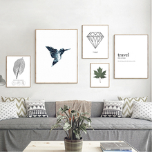 Get more info on the Nordic Style Poster Minimalist Art Canvas Painting Bird Leaf Black and White Print Wall Art Decoration Painting for Living Room