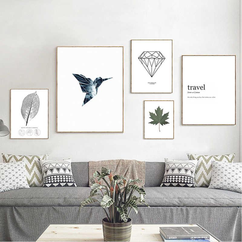 Stile nordico Poster Minimalista Arte della Tela di Canapa Pittura di Uccelli Foglia di Stampa in Bianco e Nero di Arte Della Parete Della Decorazione Della Pittura per Soggiorno
