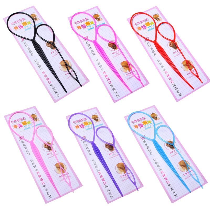 2Pcs/Set Women Girls Ponytail Styling Maker Clip Tools Hair Ties Braider Accessories Plastic Loop Pin DIY Beauty Kit Two Sizes L