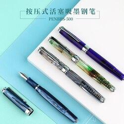 MOONMAN PENBBS 500 acrílico, pluma estilográfica con émbolo de iridio Punta fina 0,5mm, juego de pluma de tinta de regalo de escritura a la moda para oficina