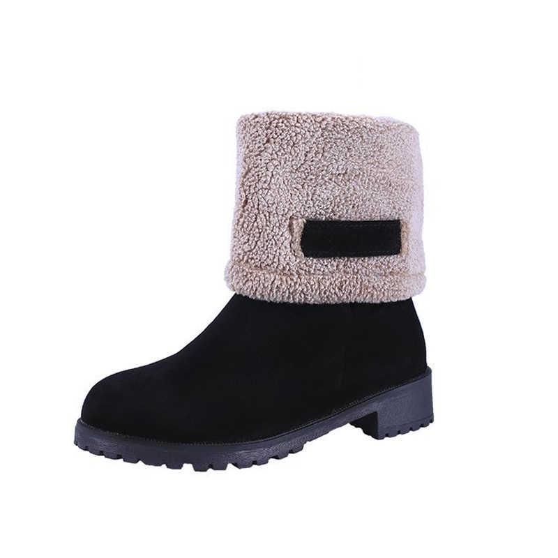 חדש 2019 נשים מגפי אופנה פנו מעל קצה אמצע עגל מגפי כיכר העקב אישה מגפי שלג חם חורף נעלי פלטפורמת נשים מגפיים