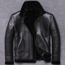 送料無料、冬本物の天然毛皮の着用、ウールムートン服、暖かい革ジャケット、メンズシープスキンのコート。黒服
