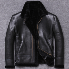 Free shipping,Winter genuine natural fur wear,Wool Shearling clothing,warm leather jacket,mens sheepskin coat.black clothes