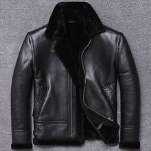 Ücretsiz kargo, kış hakiki doğal kürk giyim, yün Shearling giyim, sıcak deri ceket, erkek koyun derisi ceket. Siyah elbise