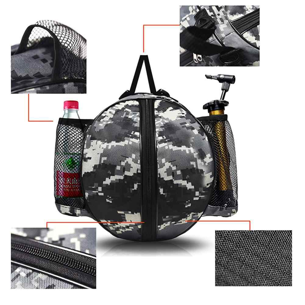 Bolsa de baloncesto fútbol voleibol deportes pelota de almacenamiento bolsa de camuflaje mochila soporte con 2 bolsillos laterales de malla para botella toalla