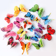 12pcs sets Multicolor Double Layer 3D Butterfly Wall Sticker Magnet PVC Butterflies Party Kids Bedroom Fridge Decoration supply