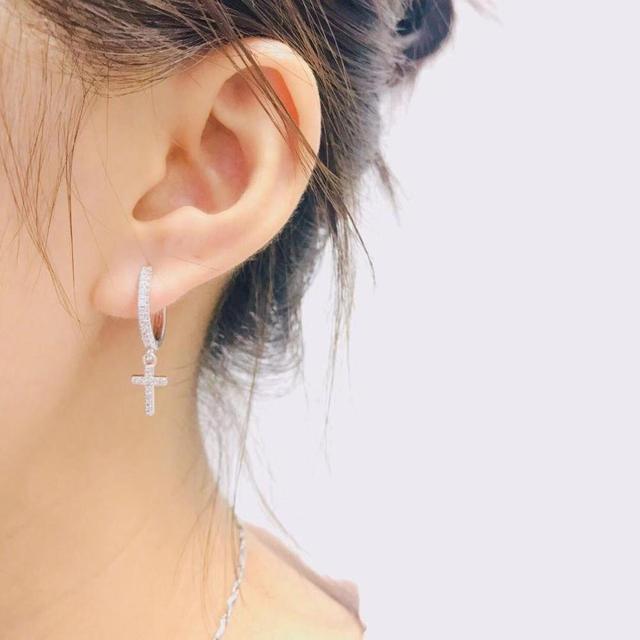 SIPENGJEL New Zircon Cross Pendant Hoop Earrings Punk Vintage Dangle Drop Earrings For Women Fashion Jewelry Gift 2021 4